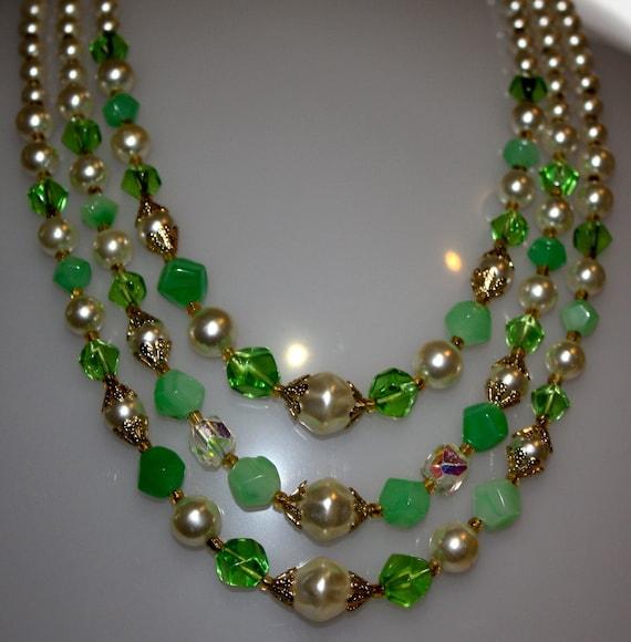 """Vintage  3 Strand Green Necklace 23"""""""