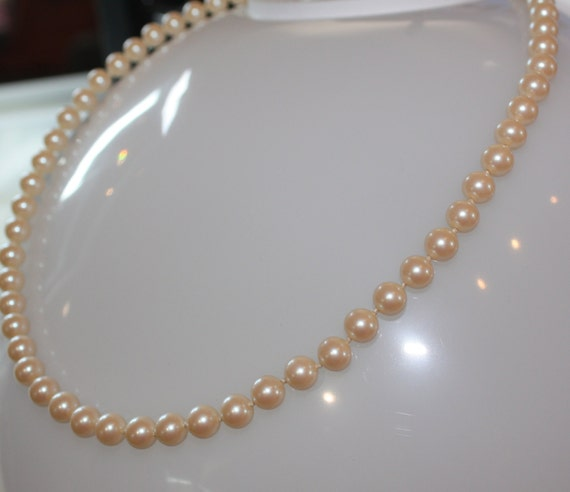 1980s Vintage 8mm Hand Knotted CREAM colored 8mm PEARLS with Sterling  Filigree closure      22""