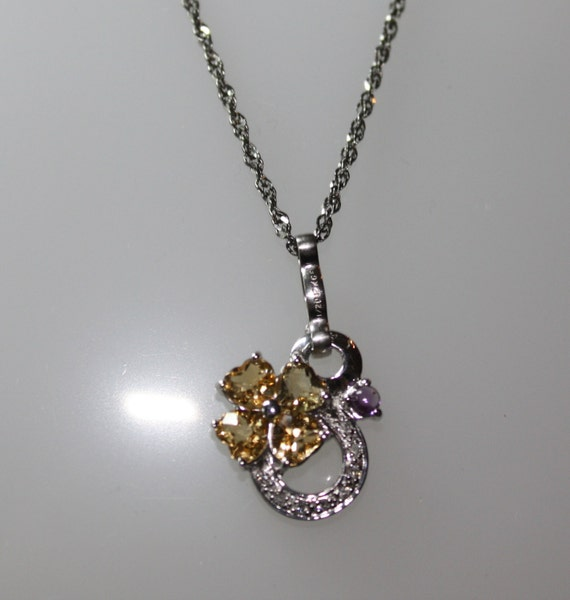 Sparkling Golden CITRINE HEARTS Pendant with Amethyst and Diamonds in 925 SS Setting and Chain