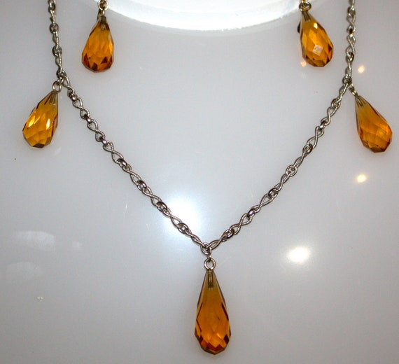 Victorian Style Citrine 18 Inch NECKLACE & EARRINGS in 14K White Gold
