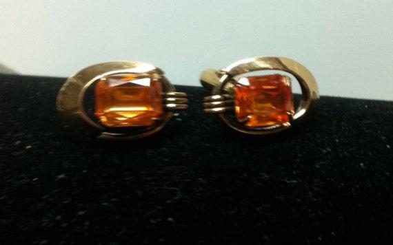 GENTS 12KGF CUFFLINKS:  1950s 8x10mm Yellow Orange Stones Prong Set