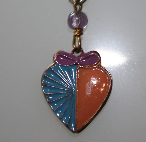 1980s Small Vintage Blue & Peach Enameled Heart with a Lilac bow Pendant Necklace on 925 SS Chain