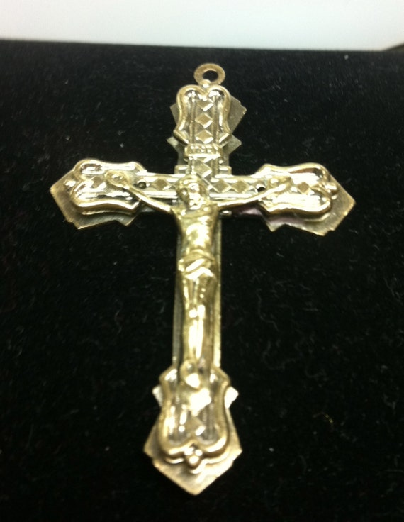"VINTAGE CRUCIFIX  in Silver Tone Metal 2-1/4"" x 1-1/2"""