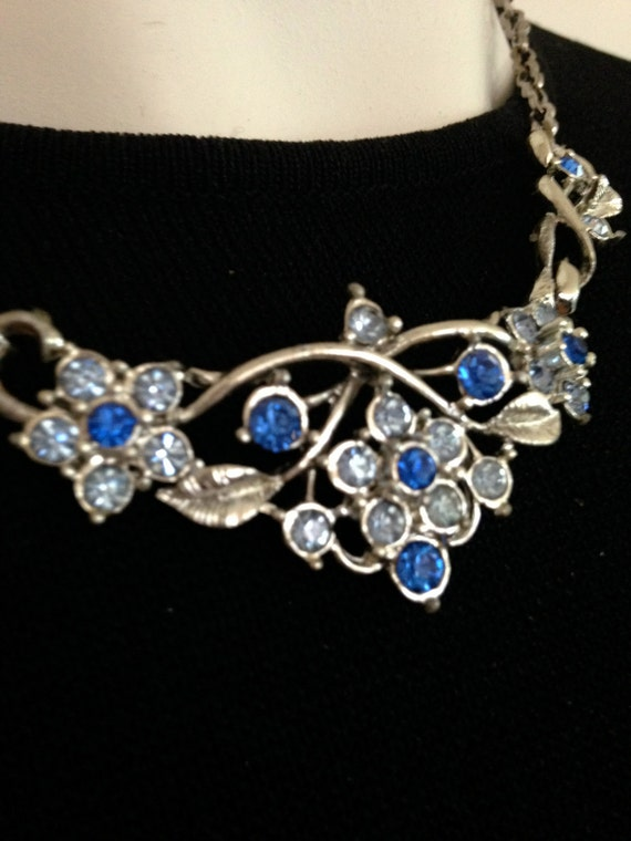 BLUE RHINESTONE Necklace      18""
