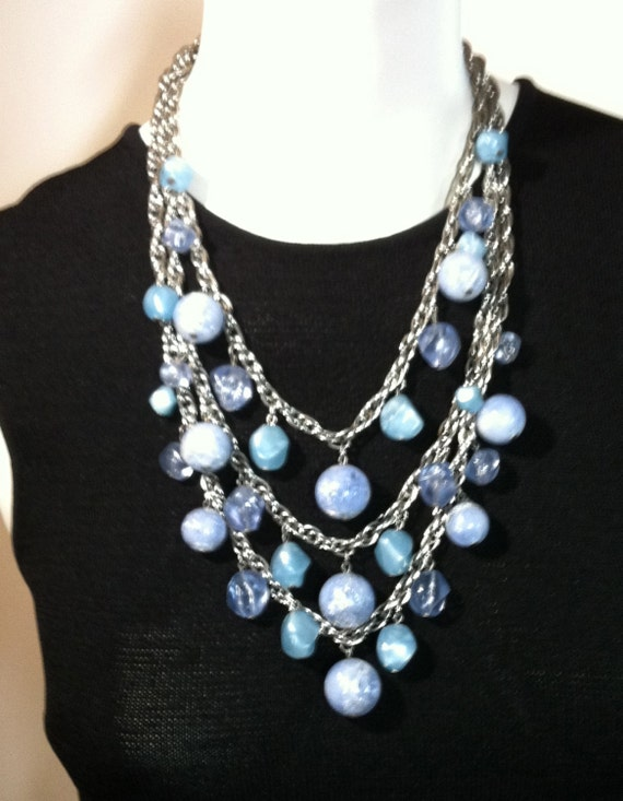 1960s CORO 3 Strand NECKLACE with Light Blue Beads     23""