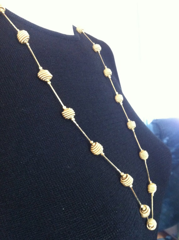 VINTAGE TRIFARI Gold  Tone Chain and Ball Necklace    30 Inch