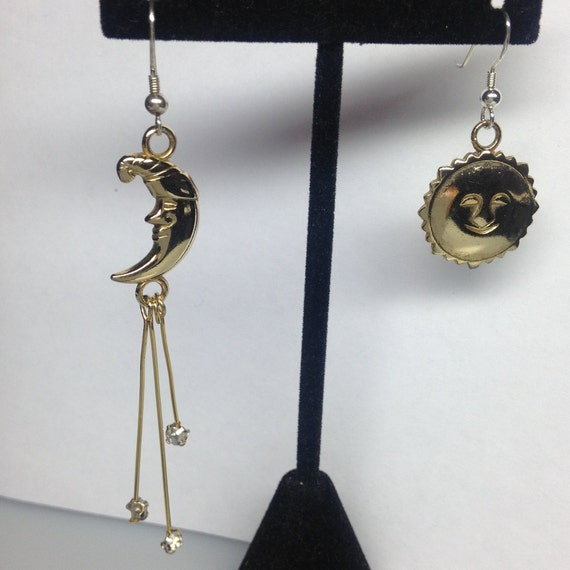 SUN, MOON and Stars pierced earrings 2 Inch