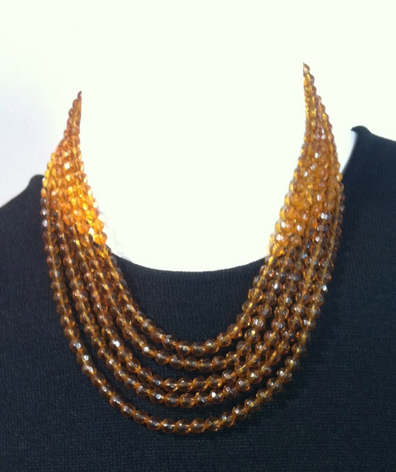 """25% 0FF! Memorial Day Sale     Vintage Five Strand Faceted BEAD NECKLACE    19-1/4"""" LONG"""