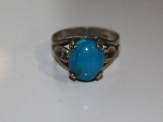 Faux TURQUOISE RING set in 925 Sterling Silver   Size 8