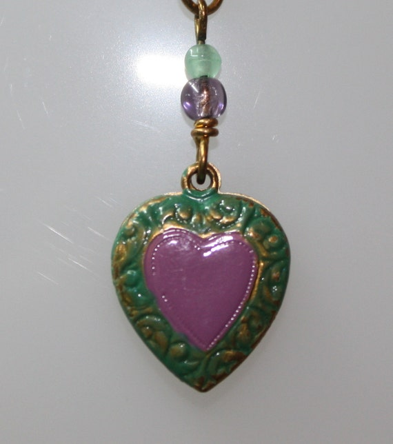 "1980s Tiny Vintage Violet and Green Enameled Heart Pendant 5/8"" Long on 18"" GF Chain"