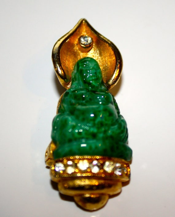 DESIGNER Jade Glass Buddha Pin  1-3/4""