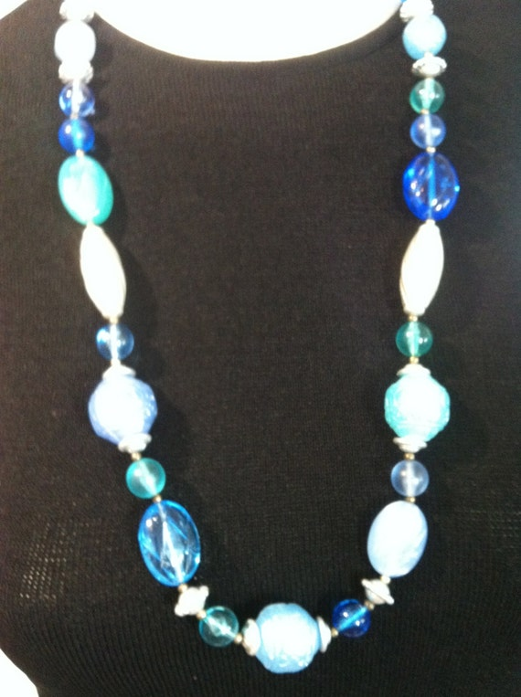 Vintage BLUES and SILVER Bead Necklace     30 Inches Long