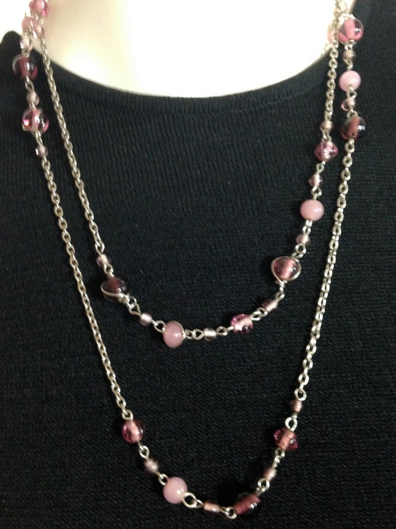 VICTORIAN STYLE Necklace of Link Chain with Purple and Pink Beads     44""