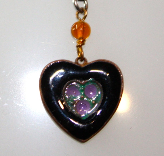 "1980s Vintage Tiny Enameled Black, Purple and Green Heart Pendant on 18"" Italian 925 SS Chain"
