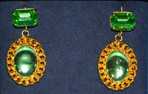 1980s VICTORIAN EARRINGS - Mint Green Large Pierced Earrings