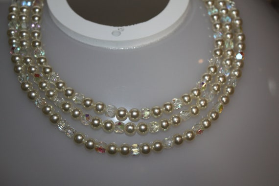 VINTAGE 3 Strand Pearl and Crystal Choker Necklace  16""