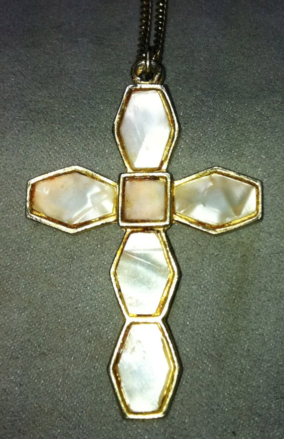 "MOTHER of PEARL Cross Pendant 2"" x 1-1/4""  on 24"" Chain"