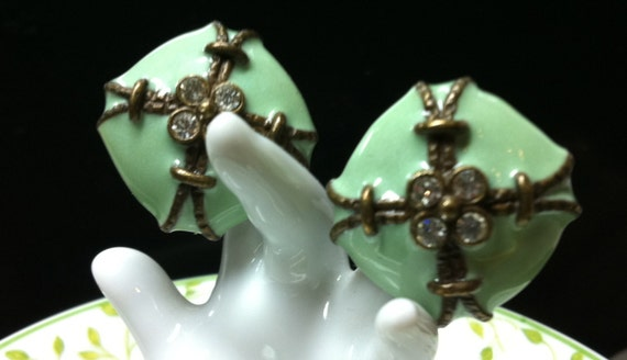 """1950s YOSCA EARRINGS:  Green Enameled Clip-ons with Rhinestones  - 3/4"""" Square"""