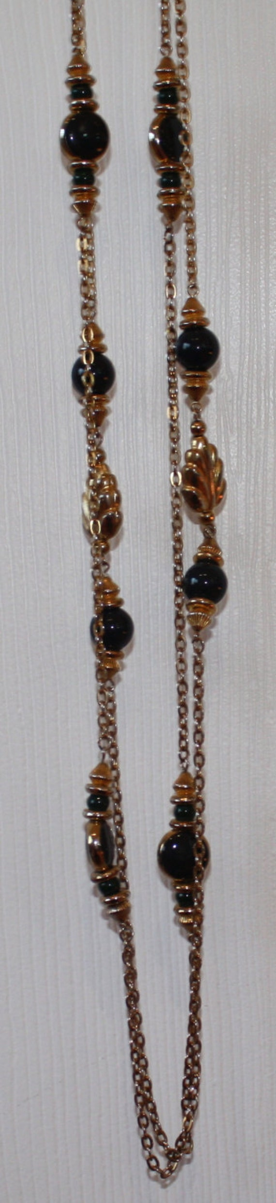 "Double Strand Gold toned NECKLACE with Navy and Dark Tiel Beads  34"" Long"
