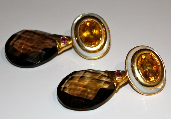 1980s EARRINGS -Large Golden CITRINE, Smoky Quartz and Ruby and Mother-of-Pearl Pierced Earrings