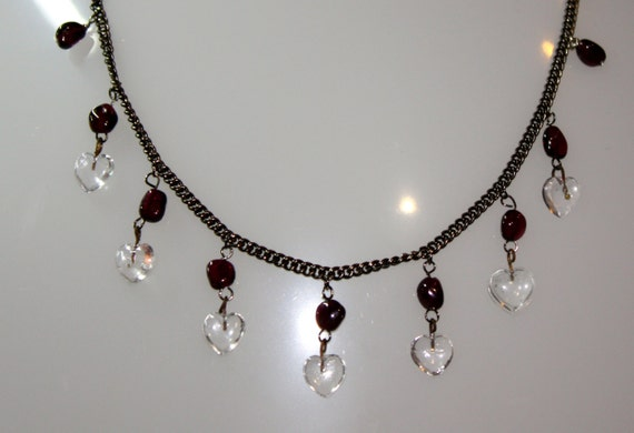 Victorian Style Charm Necklace with Vintage Glass Hearts and Dark Red Garnet Beads  23""