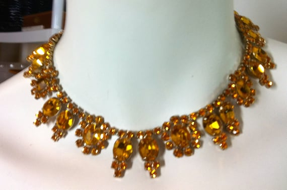 VINTAGE LARGE RHINESTONE Choker in Yellow Orange      15""