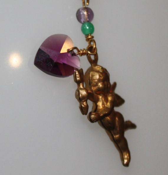 1980s Vintage Small  Cupid and Purple Heart Pendant on 18K YGP over  925 SS Chain - 18""