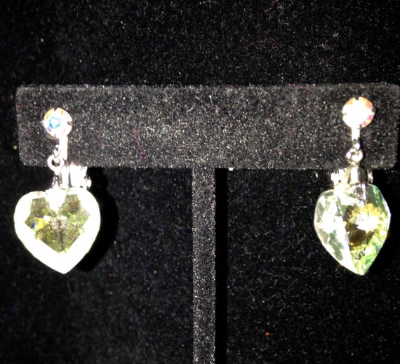 B. DAVID Aurora Borealis Rhinestone Heart Clip-on Earrings       1""