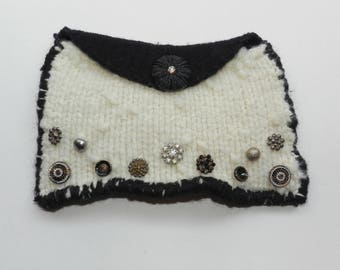 Hand Knit Black and White Felt Evening Clutch - Beautiful Buttons Galore