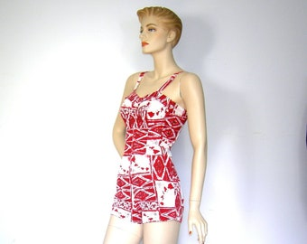 Vintage 1950s ALFRED SHAHEEN/ Hawaiian Bathingsuit/ Swimsuit/ Playsuit/ Rockabilly Bombshell/ VLV/ 50th State/ Red Tiki Tapa Hawaiian Island