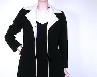 c43c3125179dbe Vintage 1960s LILLI ANN Rare British Invasion ICONIC Dress/ Black & White/  Ribbed Knit/ Mod/ Space Age/ Lilli Ann Knit/ Dress/ Suit/ England