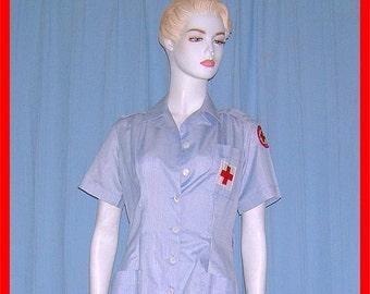 Vintage 1950s Volunteer Uniform Suit Peplum Style Pinup