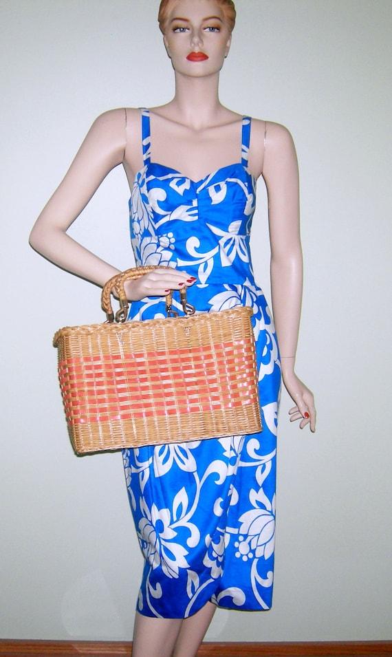 Vintage 1950s Wicker Bag/ VINYL Coated/ Wicker Pur