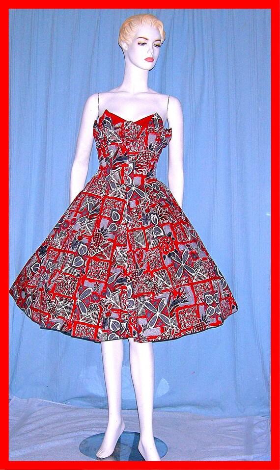 Vintage 1950s SURFRIDERS Hawaiian Dress Petal Shel