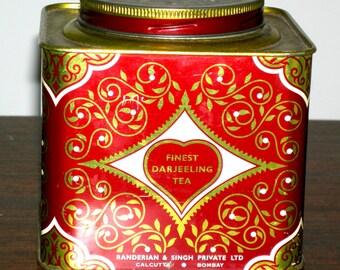 VIntage RANDERIAN SINGH Tea Tin Calcutta Bombay Indian Darjeeling Tea Tin with Lid Antiquie India Tin Lithograph Rare Collectors