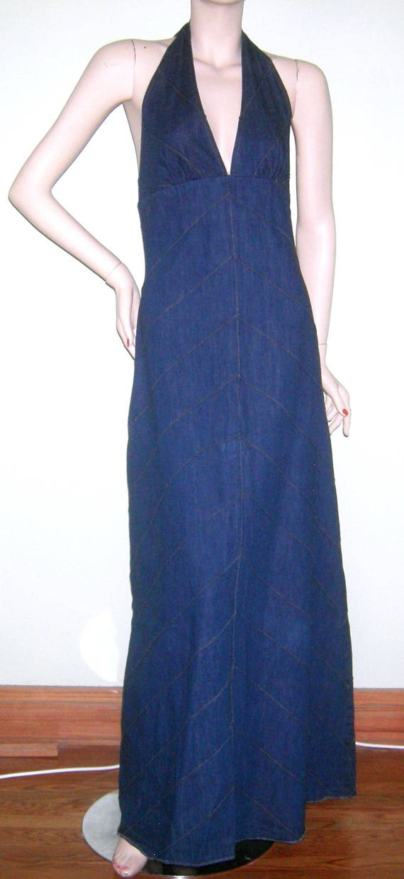 Vintage 1960s 1970s Denim Halter Dress