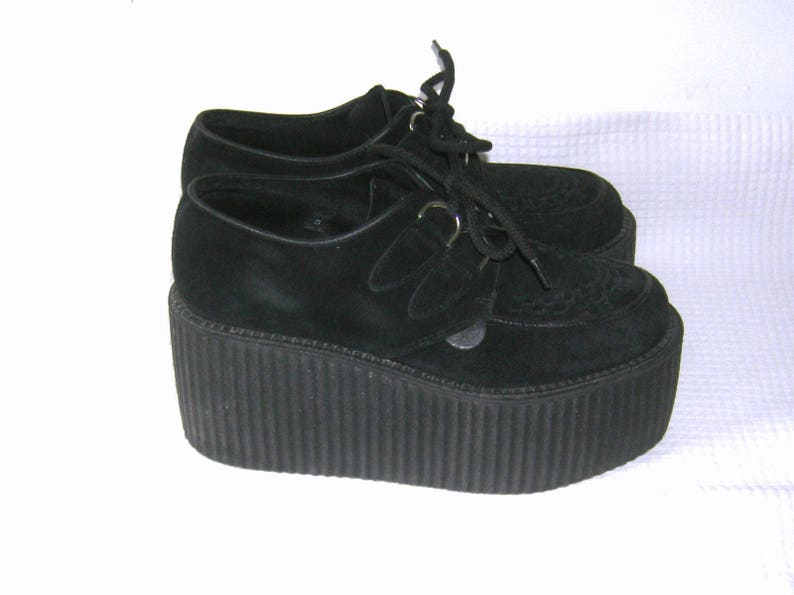70eca340c6c04 LONDON UNDERGROUND/ Triple Sole CREEPERS/ Platforms/ Oxfords Shoes/ Black  Genuine Leather/ original Underground/ Size 10.5/ Made in England