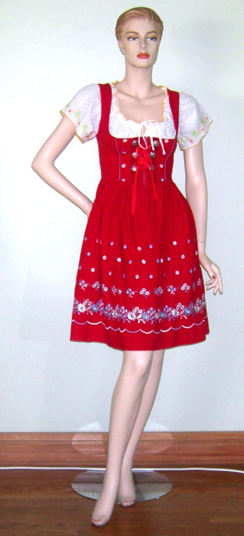 5af77b4134ab8 Vintage Austrian Dirndl Dress Red Embroidered Oktoberfest | Etsy