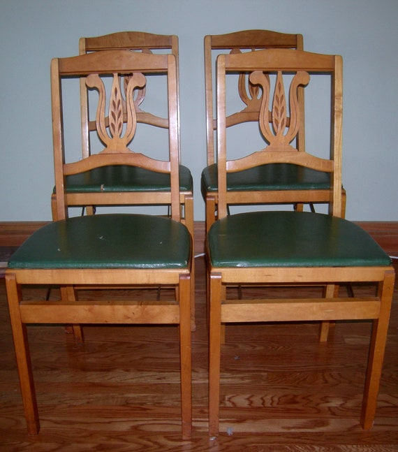 Stakmore Folding Chairs Vintage.Vintage Stakmore Mid Century Wooden Folding Chair 4 Chairs Solid Wood Green Vinyl Modern Set Of 4 Chairs Made In Usa