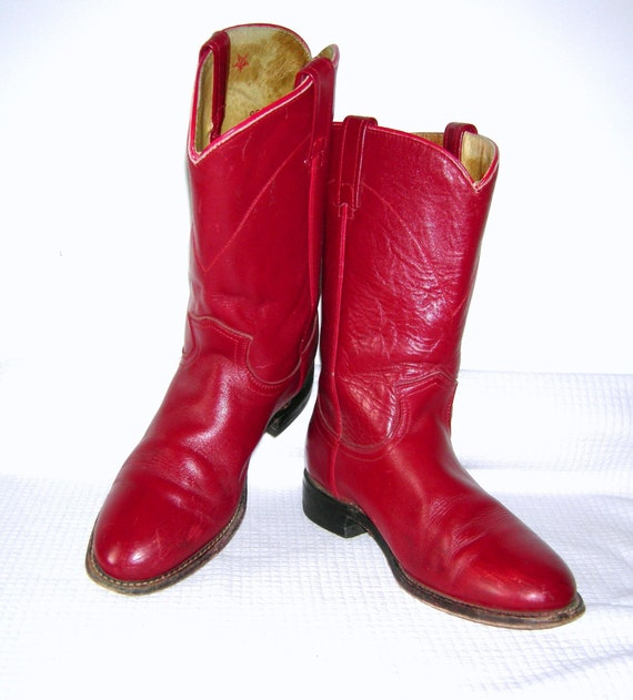 c96195fbf78 Vintage JUSTIN Boots/ Rockabilly/ Western/ Roper/ Red Leather/ Cowboy  Boots/ Cowgirl/ Made in USA/ Women's/ 6.5