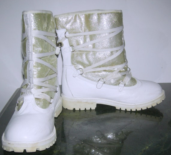 TIMBERLAND Leather Boots Spinoff Urban Apres Fleece Lined Leather Boots Women's White Leather Silver Ski Snow Boots Made USA