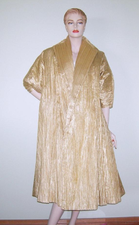 Vintage 50s Ceil Chapman Coat Haute Couture Gold L
