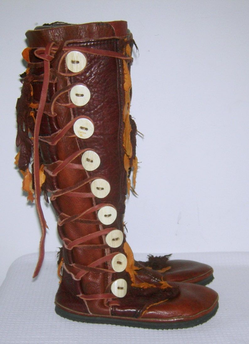 bf708bc0c6 FOOTLOOSE Moccasin Boots Aspen Buffalo Skin Leather Renaissance Medieval  Knee High 9 Antler Horn Buttons Moccasins Hand Made Artisans USA