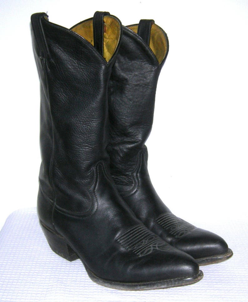 557a98ead31 TONY LAMA Boots/ Cowboy Boots/ Men's/ Vintage/ Black Leather/ Western/ Top  Stitched/ Rockabilly/ Western Boots/ Size 9.5 D/ Made in USA