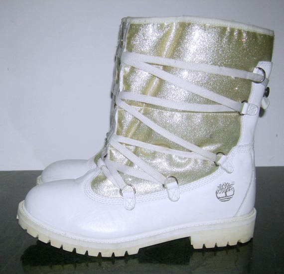 fbf44458f2301 Vintage TIMBERLAND Leather Boots/ SPINOFF Urban/ Fleece lined/ Snow Boots/  Womens/ Silver/ White/ Apres After Ski Boots/ USA/ Women's/ 7