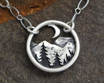 Mountains and the Moon Pendant - Silver Nature Necklace - Round Landscape Pendant - Mountain Range and Pines at Night - Everyday Necklace
