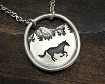 Horse Landscape Necklace - Sterling Silver - Oval Mountain Landscape Pendant - Equestrian Jewelry - Gift for Horse Lovers
