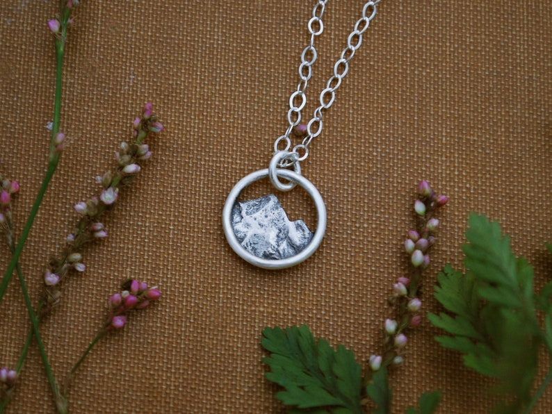 6b181bf4d6b6 Tiny Mountain Charm Necklace Simple Silver Nature Pendant