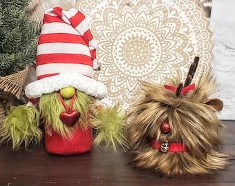 Grinch or Max gnome, Christmas gnome, present gnome, dog gnome, tomte, nisse, stripe gnome, gnomes, farmhouse decor, tiered tray decoration