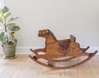 Antique Solid Oak Rocking Horse - Americana Child's Toy - Horse Nursery Decor
